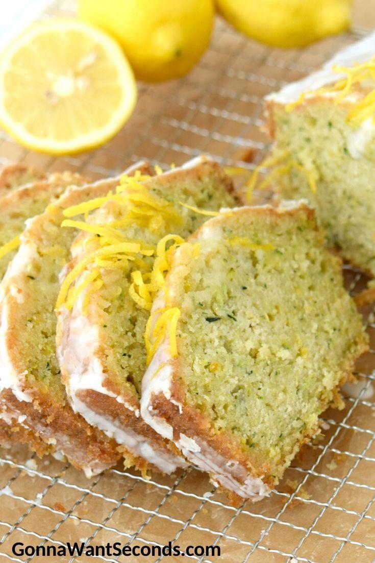 Sliced Lemon Zucchini Bread with glaze