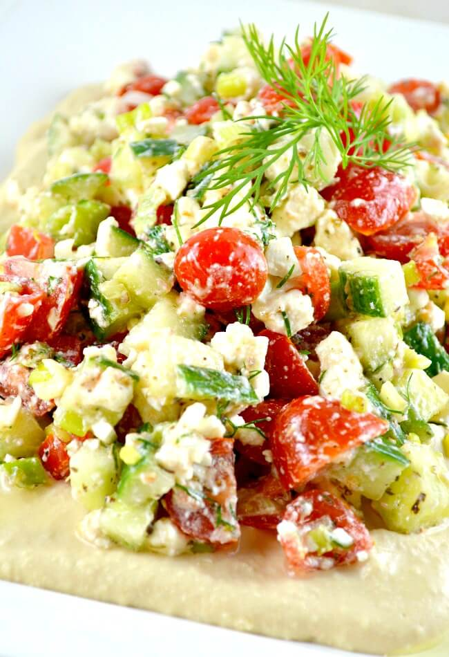 Great Greek Opa Dip ~ This is the BEST Dip ever! SERIOUSLY!!! It Has Feta, Tomato, Cuc and Hummus Dip. Everyone I Serve This To Begs For This Easy Recipe!
