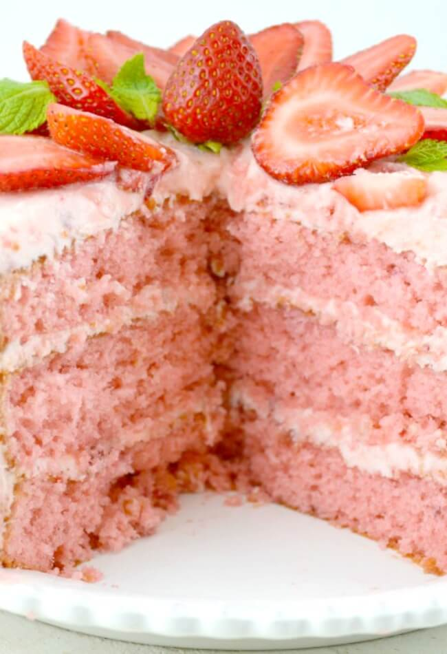 This Delicious Strawberry Cake is Super Moist, Rich and Really Sweet!