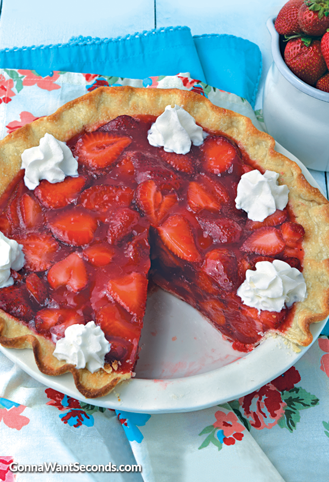 Classic Strawberry Pie-Just like Grandma used to make-Piled high with strawberries and enrobed in a thick, sweet Jello glaze.