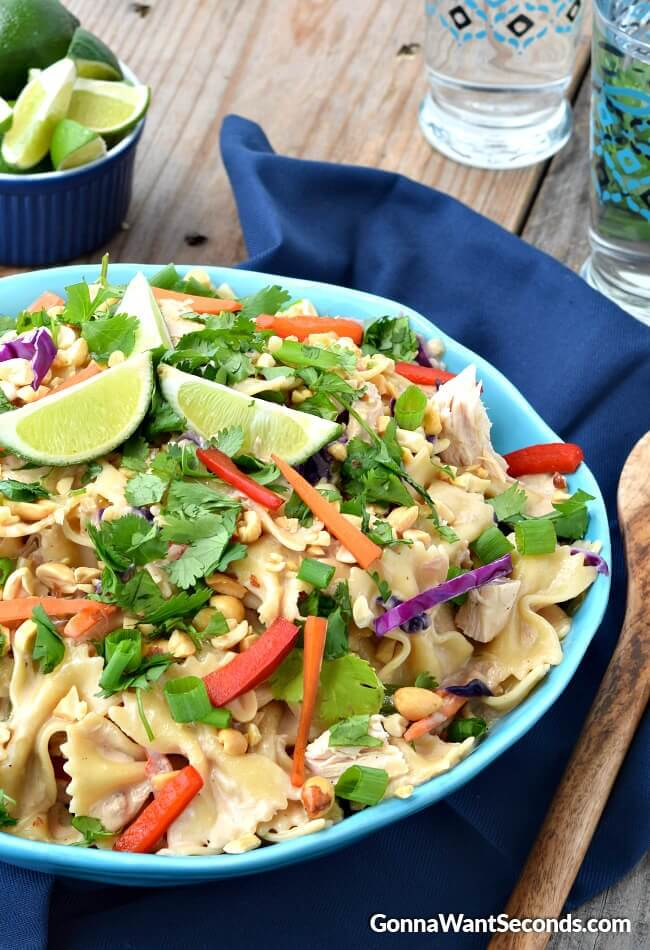 Creamy Peanut Thai Noodles-this pasta dish is smothered in a creamy Thai peanut sauce and is loaded with chicken and veggies!