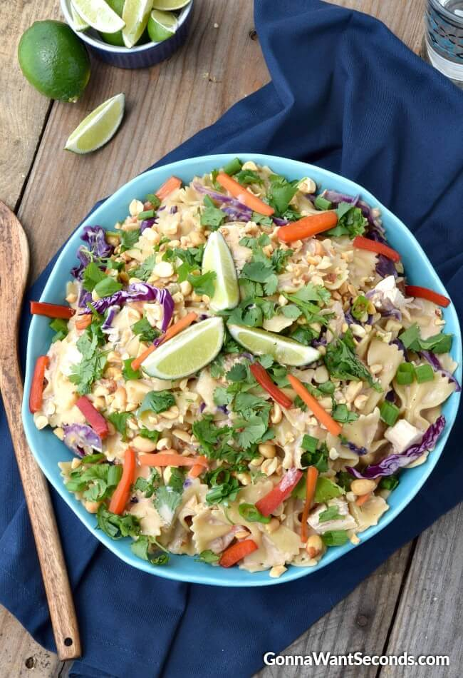 Creamy Peanut Thai Noodles-these creamy noodles are loaded with fresh veggies, chunks of chicken all smothered in a killer delicious Thai inspired sauce!