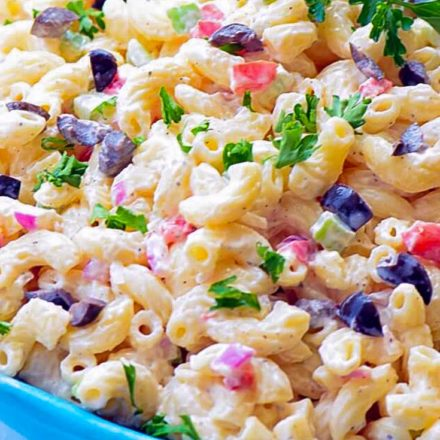 Classic Macaroni Salad in a blue bowl