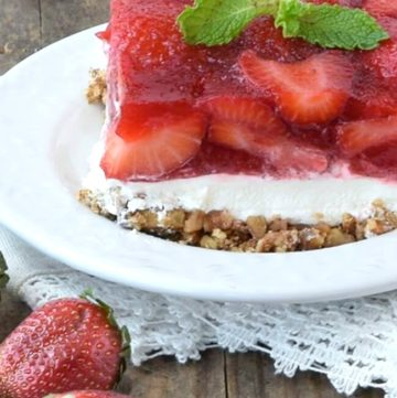 A slice of Strawberry Pretzel Salad on a plate