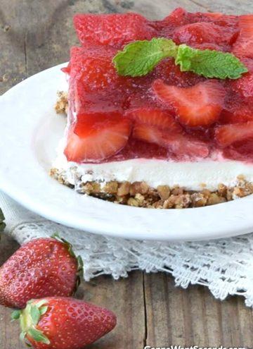 A slice of Strawberry Pretzel Salad on a plate