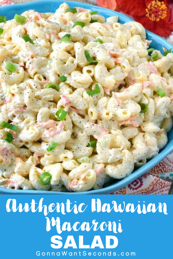 Authentic Hawaiian Macaroni Salad is a delicious and unique pasta salad generously dressed in a super creamy dressing that'sboth a little tangy and sweet. #Authentic #Hawaiian #Macaroni #Salad #Ham #Carrot #Celery #Pineapple #Mayo #Pasta #BrownSugar #Vinegar #Best #Recipe #ComfortFoods #Potlucks #Creamy #Sweet #Dressing