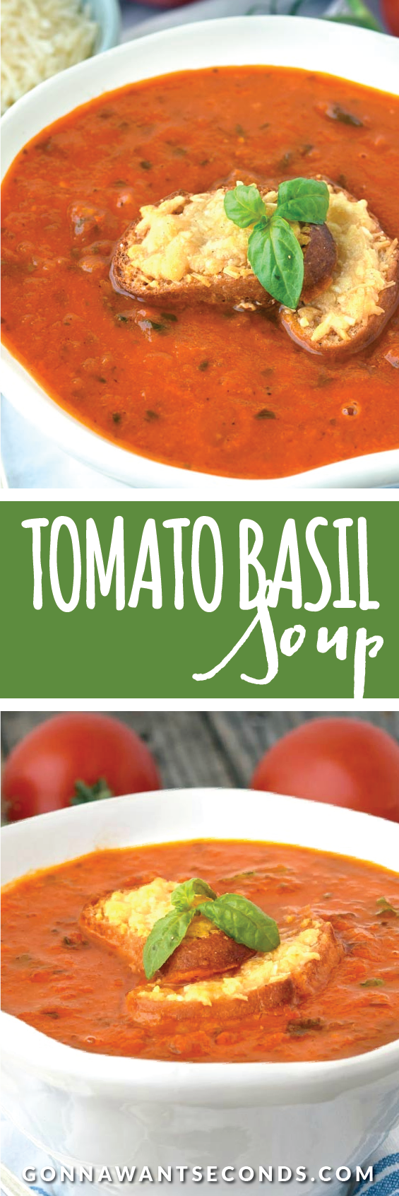 This thick, rich Tomato Basil Soup is loaded with flavor. Made with roasted tomatoes, then to instensify the flavor, its fortified with canned tomatoes.