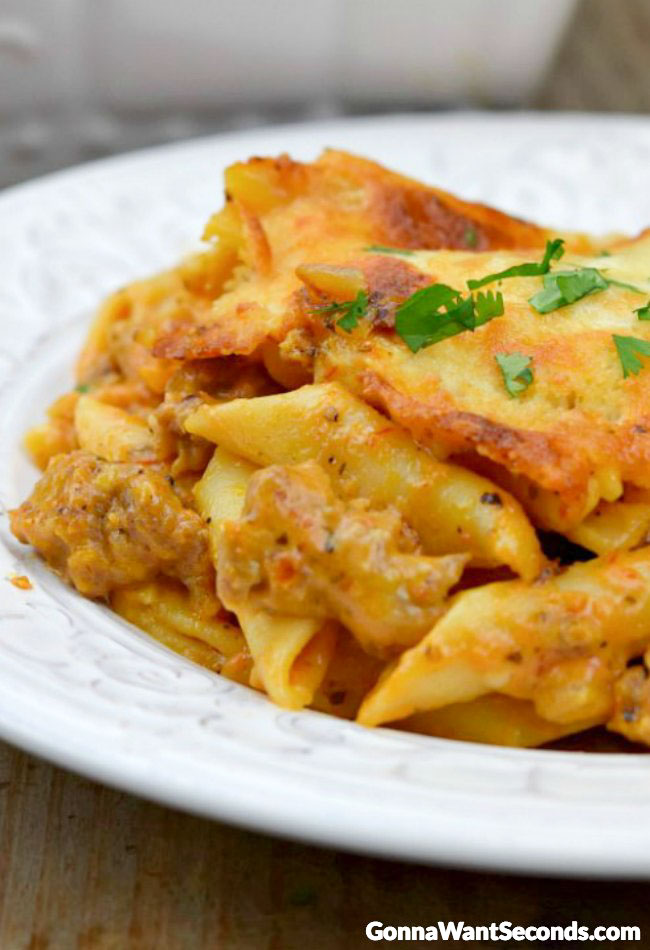 Baked Mostaccioli on a plate