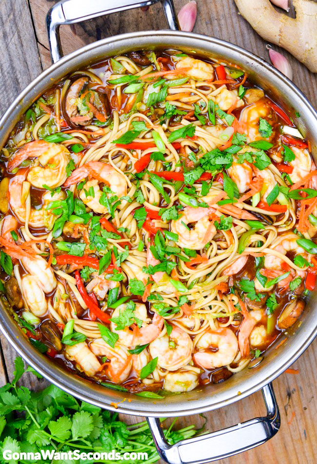 Shrimp Lo Mein in a pot