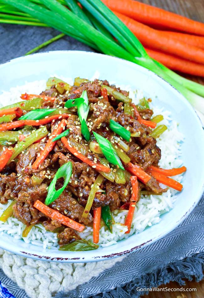 Szechuan Beef over a bowl of rice