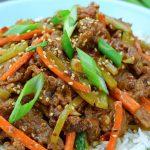 Szechuan Beef over a bowl of rice