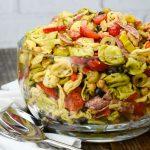 Tortellini salad in a big bowl