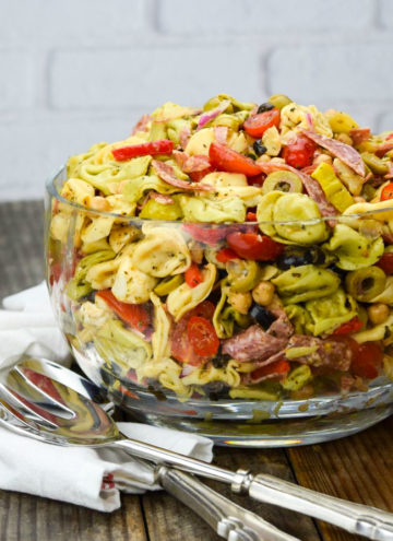 Tortellini salad in a big bowl