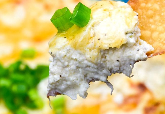 Crab Rangoon Dip in a blue dish