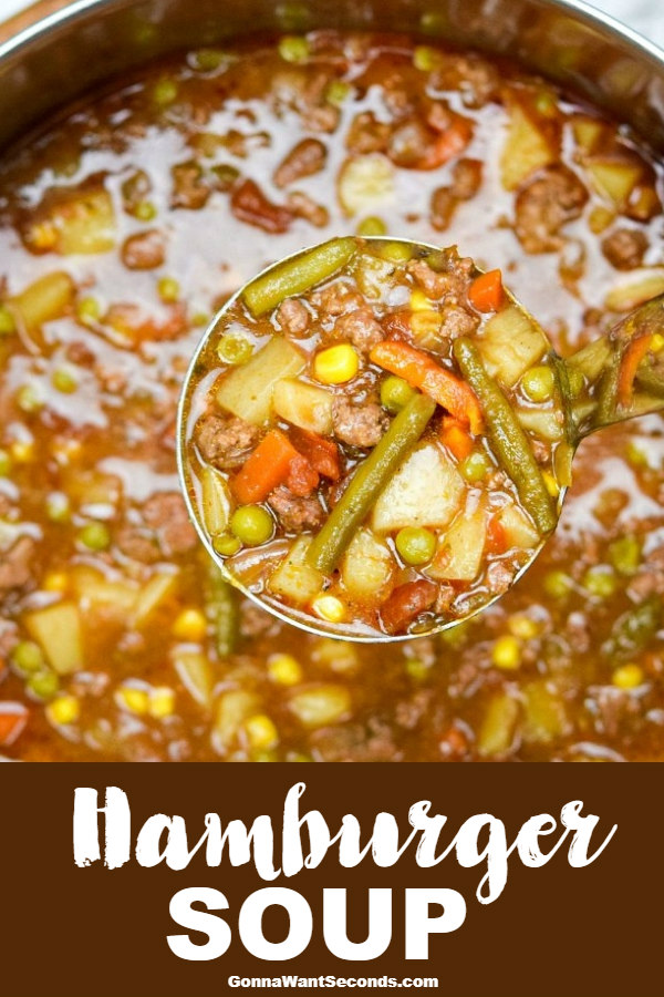 Hamburger Soup is a home-style, hearty meal sure to satisfy healthy appetites and stir up happy memories of Grandma's house. #HamburgerSoup #Soup