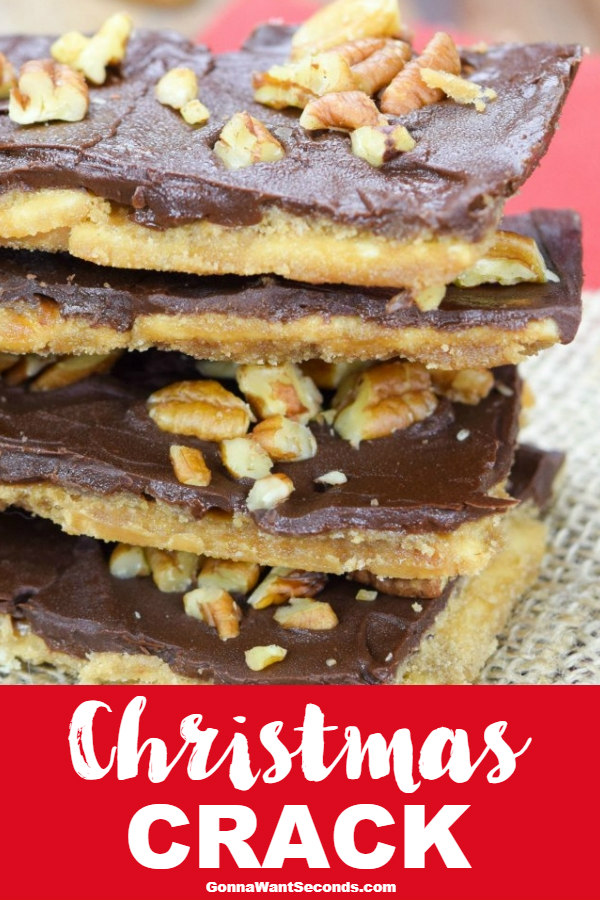 Our Yummy Christmas Crack Makes A Buttery Toffee With A Light, Crispy Crust, Coated In Rich Chocolate And Toasted Pecans! Maybe The BEST Treat Ever! #ChristmasCrack #Christmas