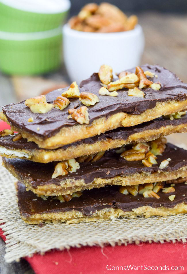 Christmas Crack- Buttery toffee with a crispy crust, topped with chocolate and pecans
