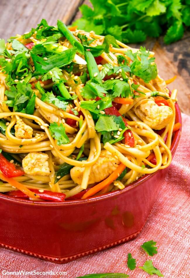 30 Minute Dragon Noodles in a red bowl, topped with veggies and chopped cilantro
