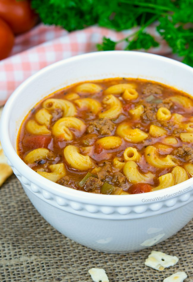 beef and tomato macaroni soup gonna want seconds