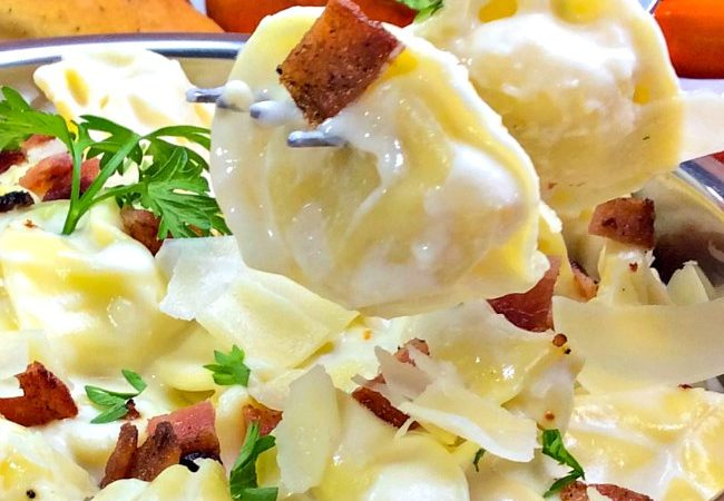 A forkful of Tortellini Al Forno