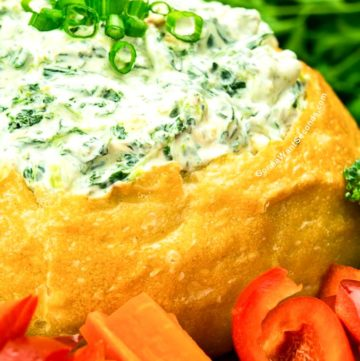 Knorr Spinach dip in a bread bowl, with veggies around