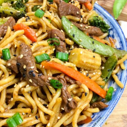 Beef Chow Mein in a blue bowl