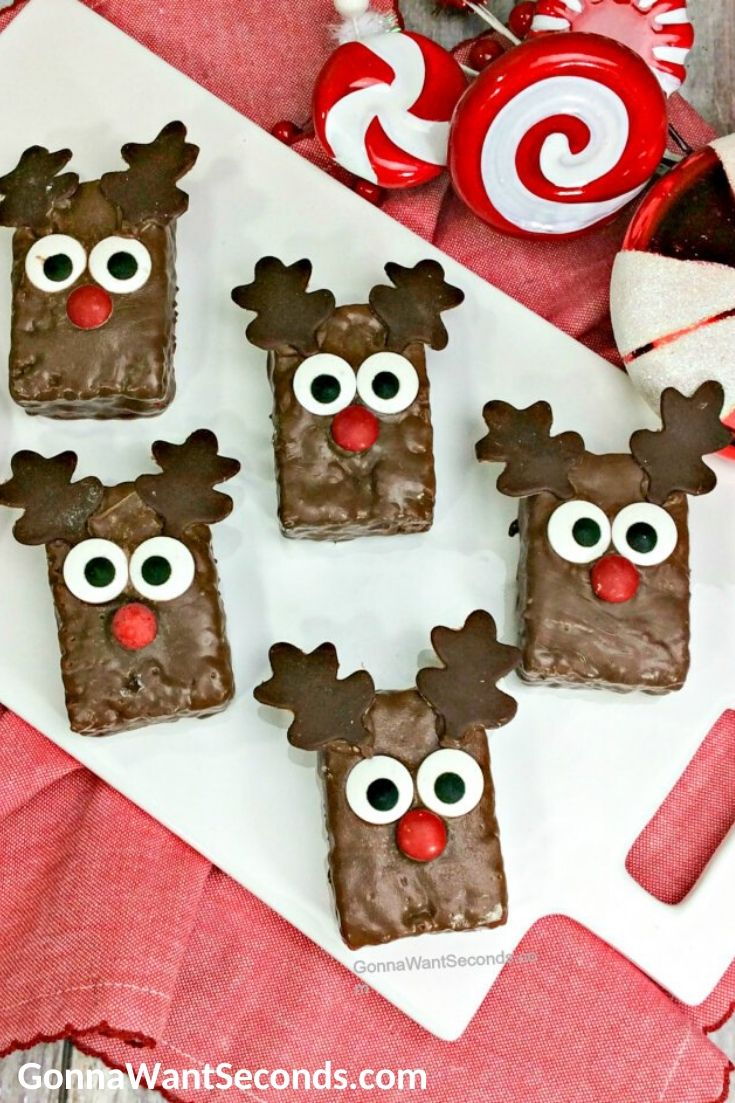Reindeer Rice Krispies treats on a rectangle serving plate