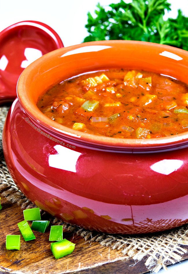 Creole Sauce Recipe in a small red tureen.