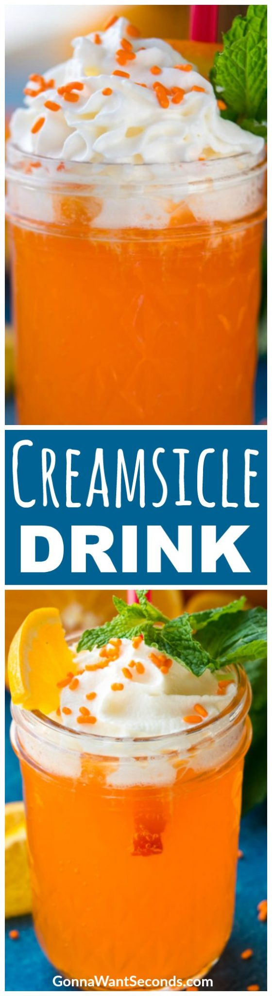 """You say """"creamsicle,"""" I say cocktails! This Creamsicle Drink recipe marries orange and vanilla cream with vodka to make one sweet bubbly beverage that's sure to conjure happy memories of forgotten summer treats. #Vodka #Alcohol #Parties #Cocktails #Orange #WhippedCream #Easy #Recipe #Creamsicle #Drink #DessertRecipes #Frozen #Summer #Fresh #Treats #Vanilla #Cream #Parties #Smoothie #Sweet #Bubbly #Spring"""