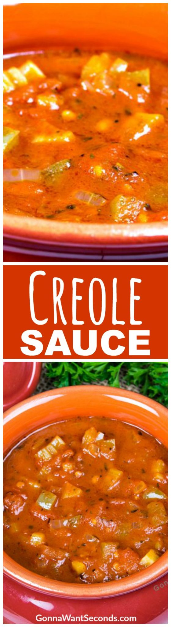 Jazz up dinner time with this authentic Creole Sauce recipe. Simple ingredients create a complex sauce guaranteed to start a Louisiana fete at your dining table! Creole Sauce is great served with chicken, shrimp, jambalaya, or veggies. Easy to make and will enhance your meal with a spicy twist. #Recipe #Easy #DeepSouth #Soul #Meals #Chicken #ForShrimp #NewOrleans #Spicy #Cajun #Creole #Sauce #Creamy #Dishes #CajunSeasoning #Dinners #Simple #Ingredients #GlutenFree #TomatoSauce