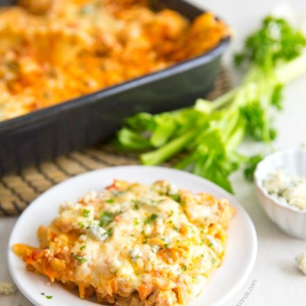 A single serving of Buffalo Chicken Lasagna on a white plate