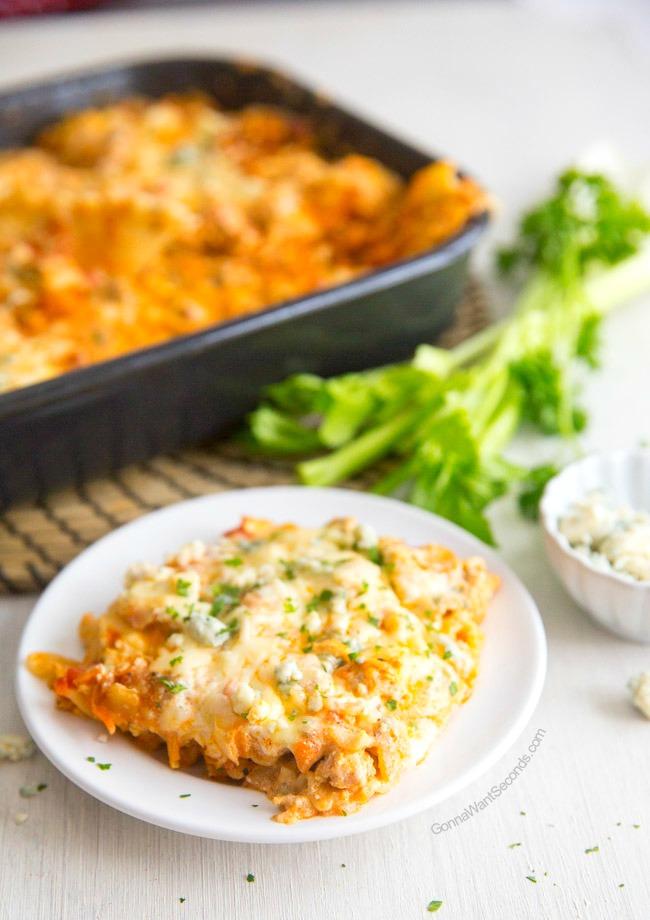 Easy Buffalo Chicken Lasagna