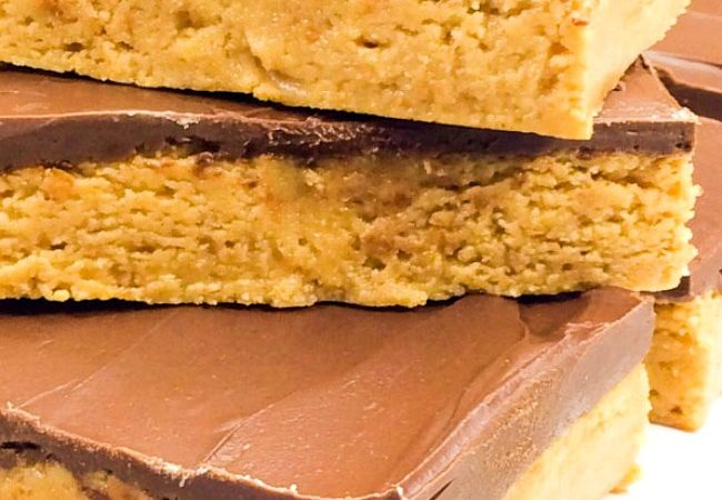 Peanut Butter Bars Stacked on top of each other