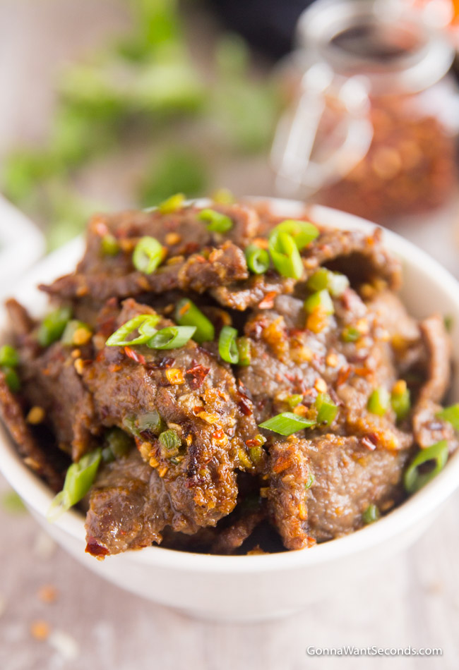 Hunan Beef in white bowl