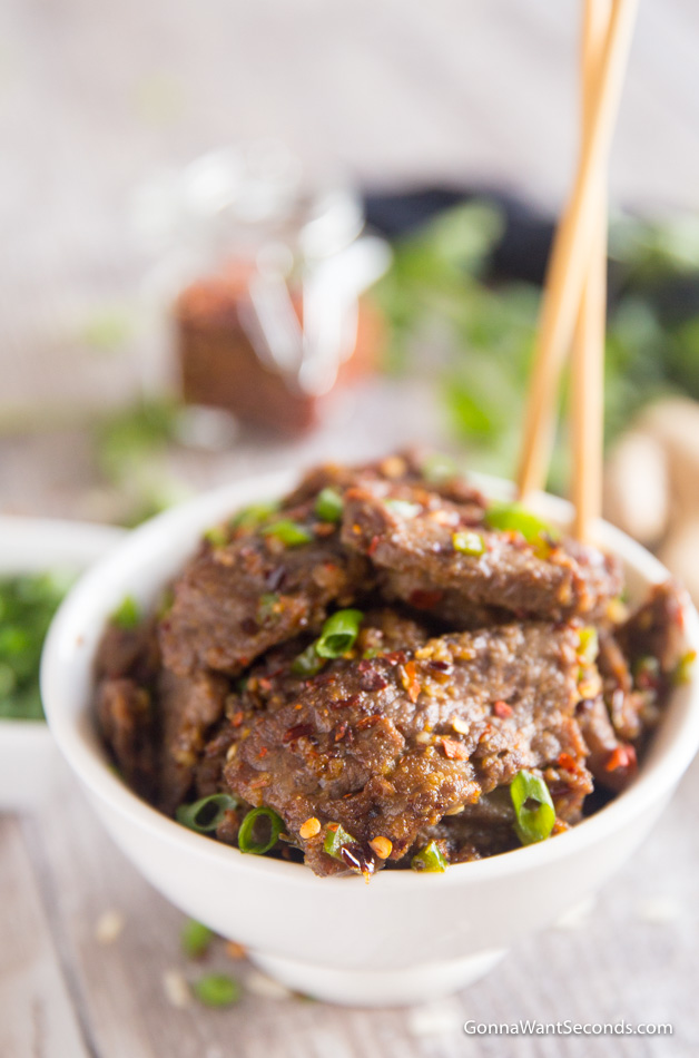 Hunan Beef Recipe in White Bowl with chopsticks