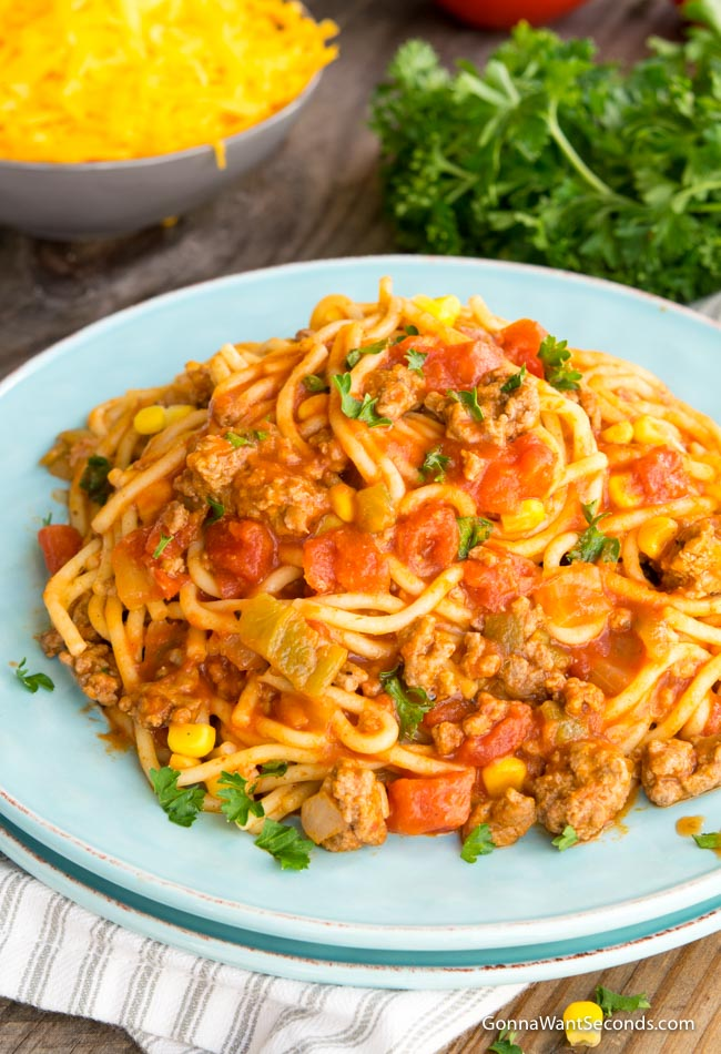 Mexican Spaghetti in a Blue Plate