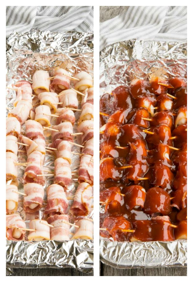 Bacon Wrapped Smokies on a aluminum covered baking sheet