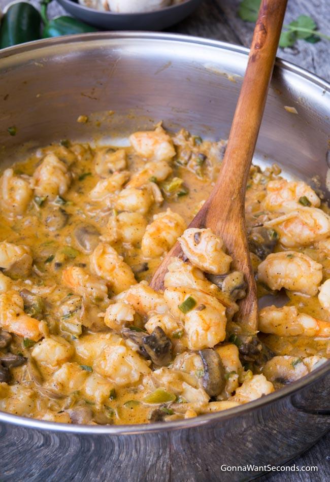 Creamy Shrimp Enchiladas' filling in a pot