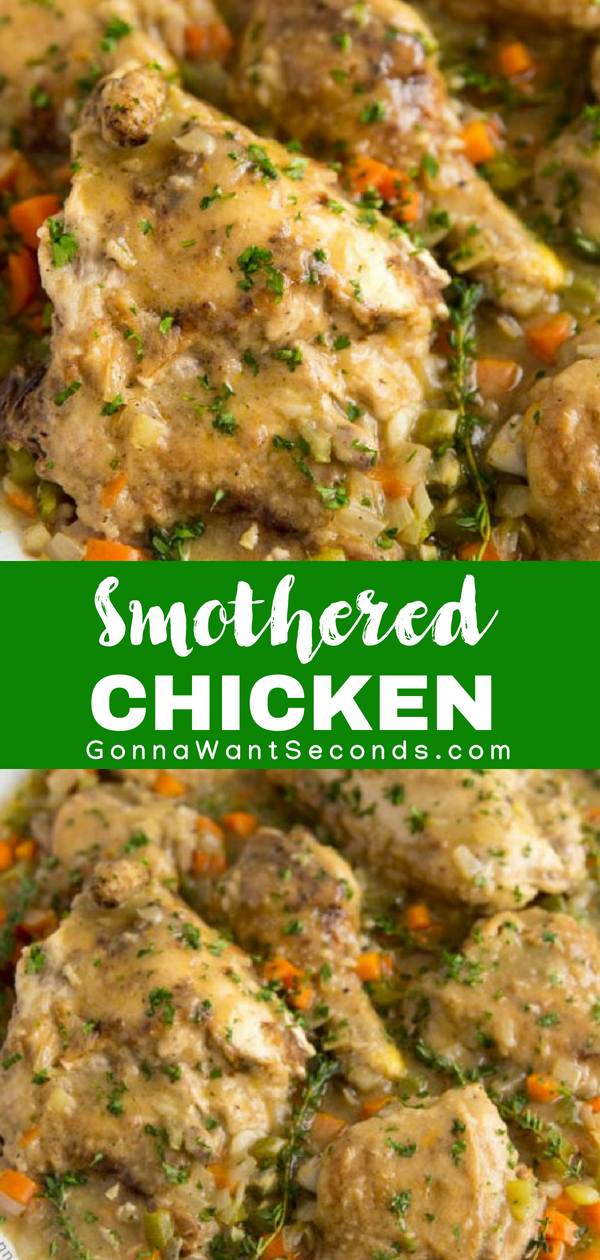 """Gravy finally gets the recognition it deserves as the indulgent star of my Smothered Chicken. Tender pieces of poultry, braised in this creamy condiment, turns mealtime into """"mmmm"""" time. This Southern Smothered Chicken with Gravy will bring the family to the dinner table in a flash! #Southern #Chicken #SmotheredChicken #WithGravy #Thighs #Recipes #Easy #AndRice #WithBacon #SoulFood #Dinner #Tenders #Simple #Potatoes #Louisiana #Cajun #WithPeppers #Meals #ChickenBroth #Cayenne"""