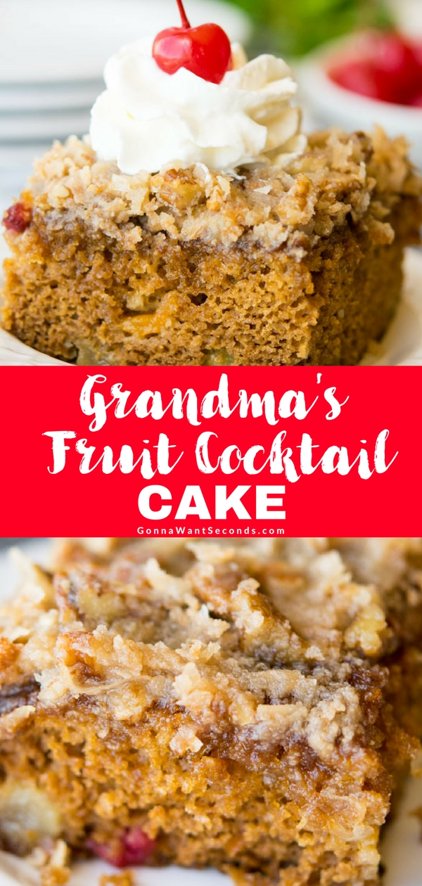 This easy Fruit Cocktail Cakerecipe is going to be a quick family favorite. Serve it up for dessert or invite your friends for coffee – either way you're going to love this old fashion cake! Made from scratch, NO box mix need. Simple to make and topped with a Butter Sauce loaded with Coconut and Pecans! #Best #Fruit #Cocktail #Cocktail #Cake #Easy #Recipe #OldFashion #Baking #Desserts #Simple #Parties #Sweets #Coconut #Families #Pecans #HowToMake #Treats #Homemade #WhippedCream