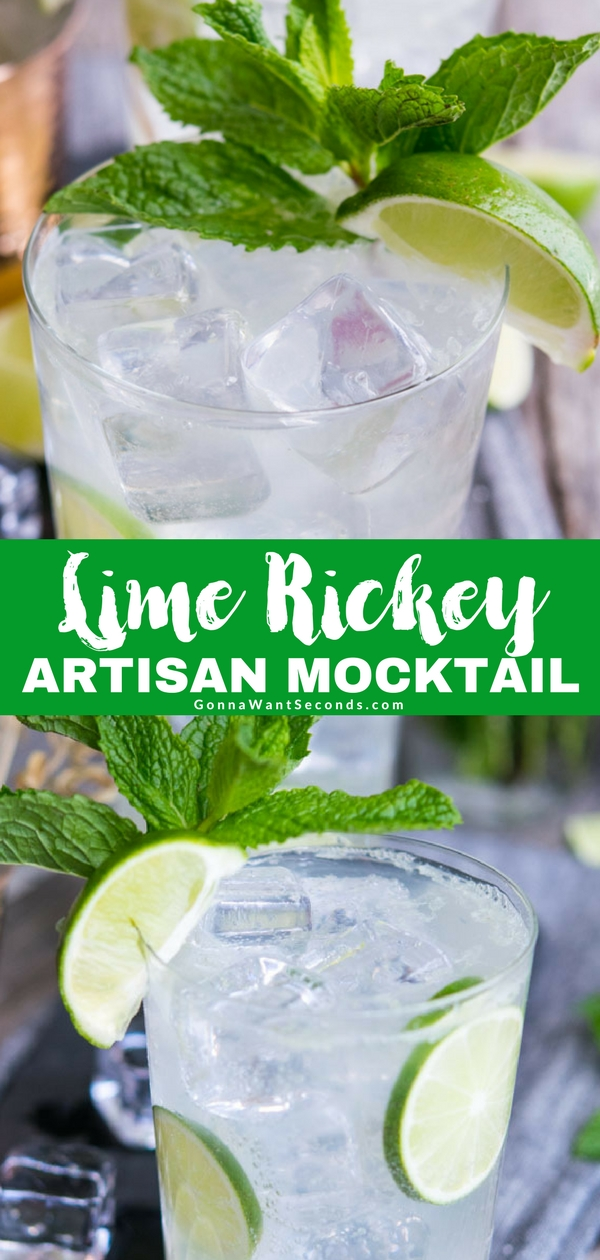 Muddle up some fun with an old fashioned Lime Rickey, a classic vintage mocktail that's as refreshing today as it was in its soda fountain days. Made from scratch without having to make or buy simple syrup. Easy to convert to a Cherry Lime Rickey. Want a Gin Rickey instead, we've got you covered! Prefer Vodka, NO prob! #Lime #Rickey #NonAlcoholic #ForTeens #Spring #Summer #Easy #Recipe #Cherry #Gin #Mocktails #SimpleSyrup #Food #Party #ForACrowd #SodaWater #SimpleSyrup #Vodka #Cocktail #Drink #Artisan