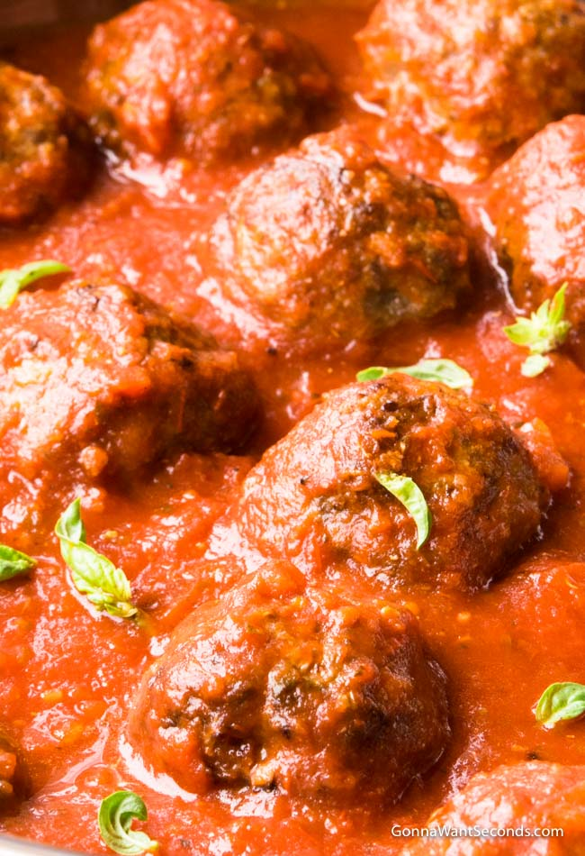 Baked Meatballs in a pot of sauce