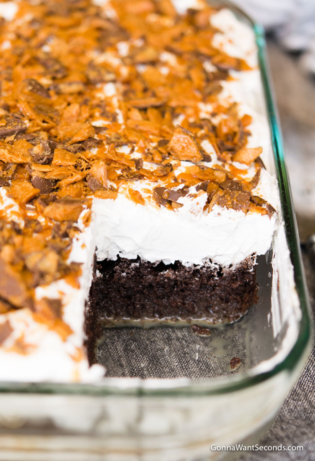 Butterfinger Cake in a 9X13 inch glass baking dish