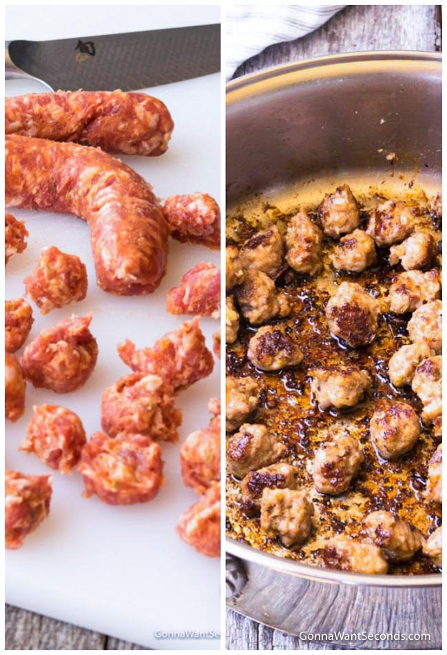 Left: Uncooked Italian Sausage on a chopping board. Right: Cooked, chopped Italian Sausage in a high sided skillet