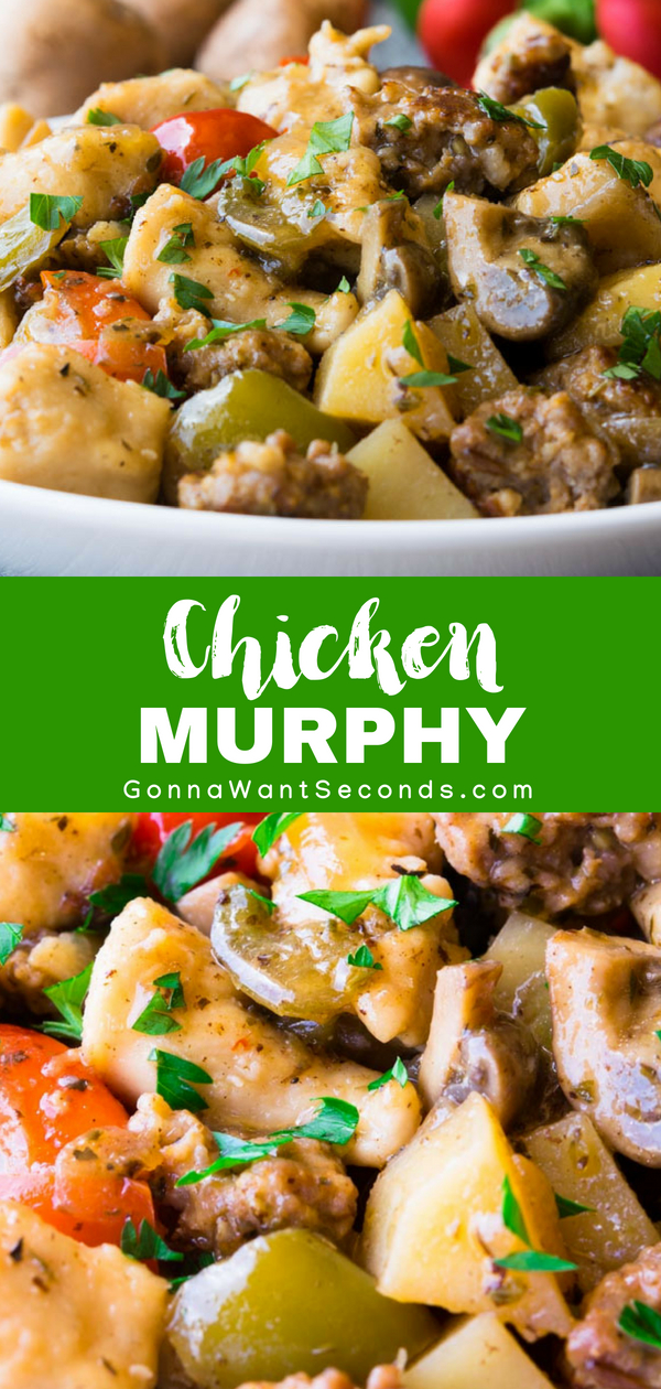Our EasyChicken Murphy isan Italian inspired favorite that includes a delightful mix of diced chicken, Italian sausage, peppers, and potatoes combined with a divine sauce made of stock, wine, and pepper brine, and served over a bed of angel hair pasta. Perfect for gather your family around the table for Sunday Supper!  #Best #Chicken #Murphy #Recipe #Wine #Dinners #Quick #Easy #FamilyCircle #Food #Families #Dishes #Cooking #ComfortFoods #StoveTop #Meals #Parties #Garlic #Italian #Sausage