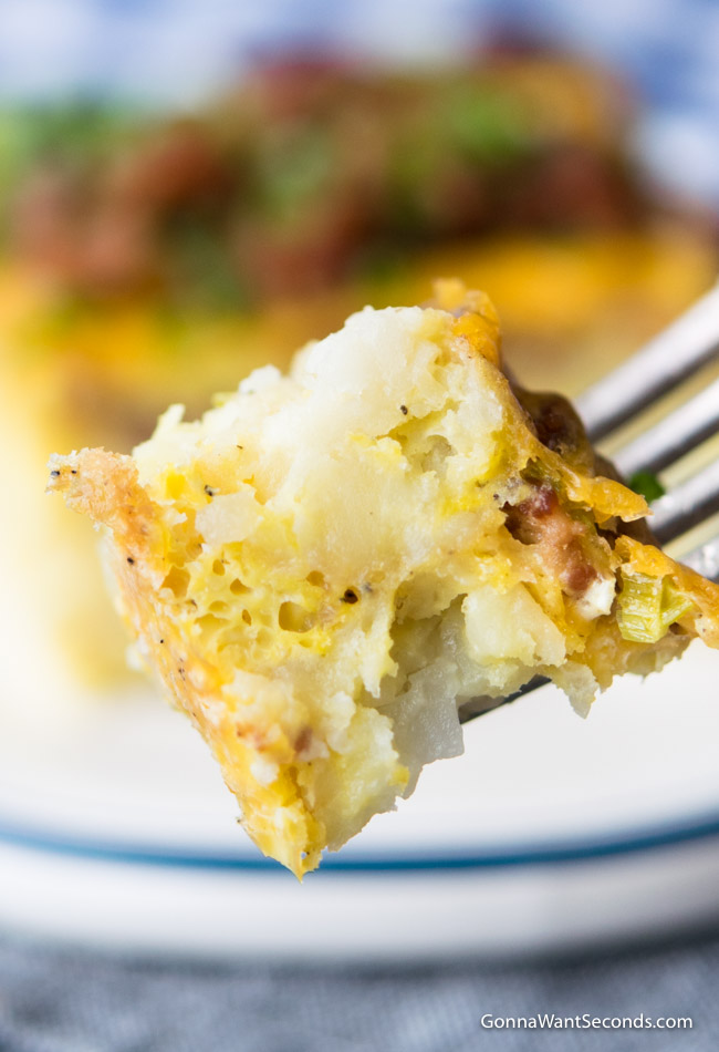 Close up, Tater Tot Breakfast Casserole on a fork