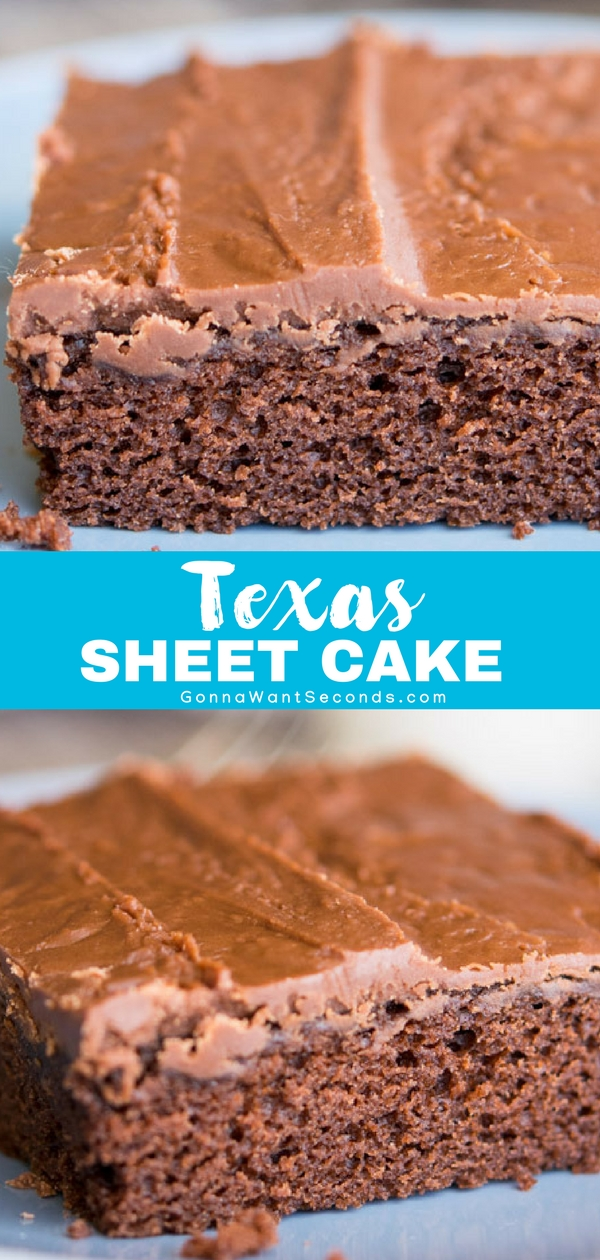 My Texas Sheet Cake is the stuff sweet dreams are made of - a thick, fudgy icing fused to the top of a moist cake masterpiece. You'll be doing the two-step after just one bite of this quick, easy but oh, so rich dessert. #Best #Texas #Sheet #Cake #Recipe #Easy #WithSourCream #WithCoffee #Icing #Simple #ForACrowd #Moist #Chocolate #Homemade #FromScratch #Families #Desserts #SweetTreats #Treats #Potlucks