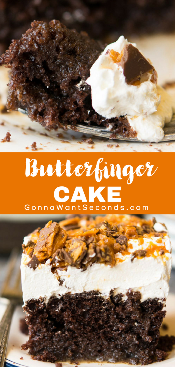 Our easy Butterfinger Cake recipe starts with a cake mix so it's a snap to make. Uniquely moist, flavored with chocolate and caramel, and topped with a thick generous layer of whipped topping and crushed butterfingers. Perfect any time you need a yummy, easy dessert to feed a crowd! #Best #Butterfinger #Cake #Recipe #Easy #Recipe #ChocolatePeanutButter  #Birthday #Layered #FromScratch #Dessert #Ideas #Parties #Homemade #SweetTreats #Baking #ForKids #Simple #Vanilla #Potlucks
