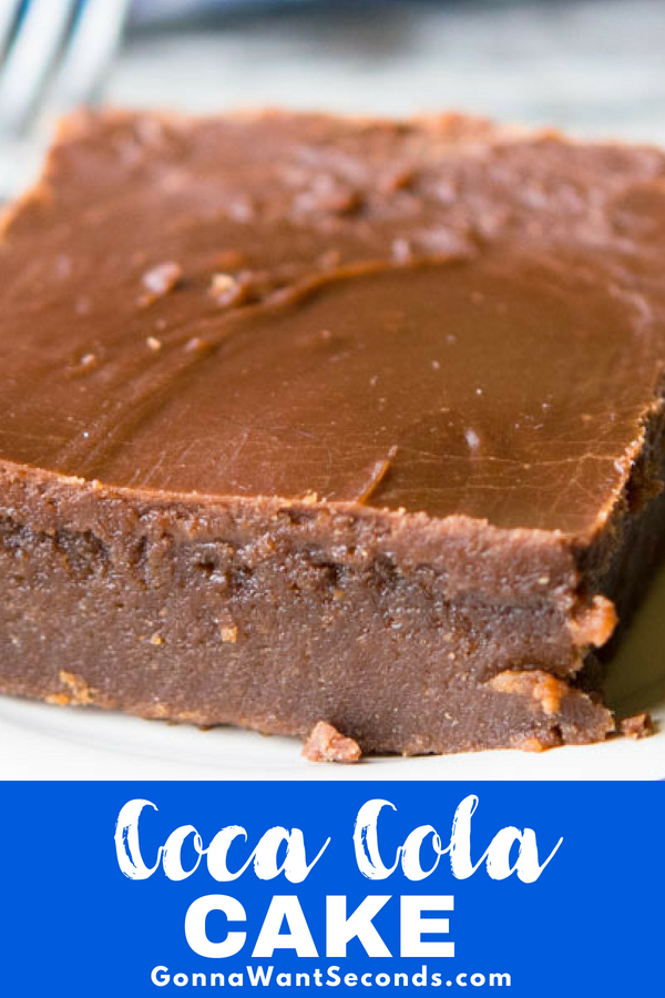 Our Coca Cola Cake has been a Southern tradition for generations. A sweet, fudgy, crazy moist cake with a thick fudgy icing. Quick and easy to put together! #Best #CocaCola #Cake #Easy #Recipe #Potlucks #Chocolate #Southern #Homemade #FromScratch #Party #Baking #Treats #Simple #SweetTreats #Desserts #Soda #PowderedSugar #Quick #Families
