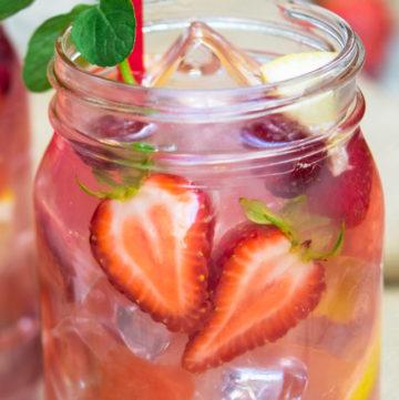 Hippie Juice in a mason jar with straw
